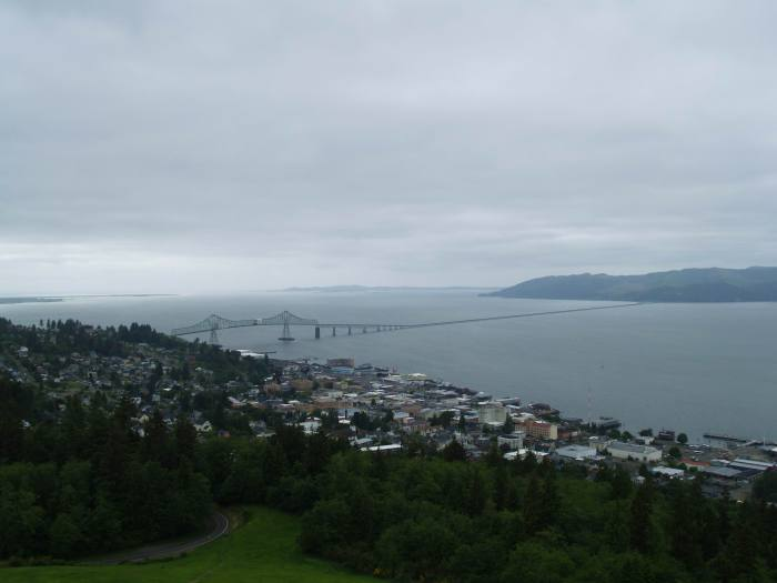looking down at Washington and the Columbia River from Astoria Column